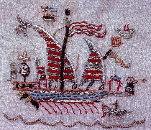 A ship.  Greek embroidery, on a towel.  Late-Ottoman era, 18th century.   Silk and metal thread on linen.  (Metropolitan museum, N.Y.).