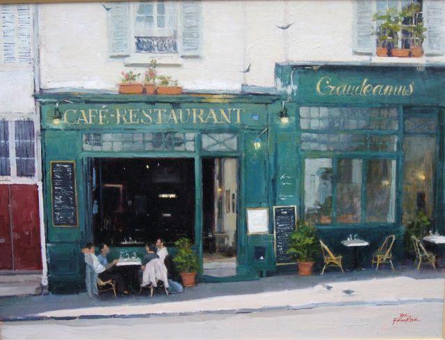 Lunch At Cafe Gaudeamus - Paris, 46 x 61cm , Oil on Belgian Linen - Betina Fauvel-Ogden