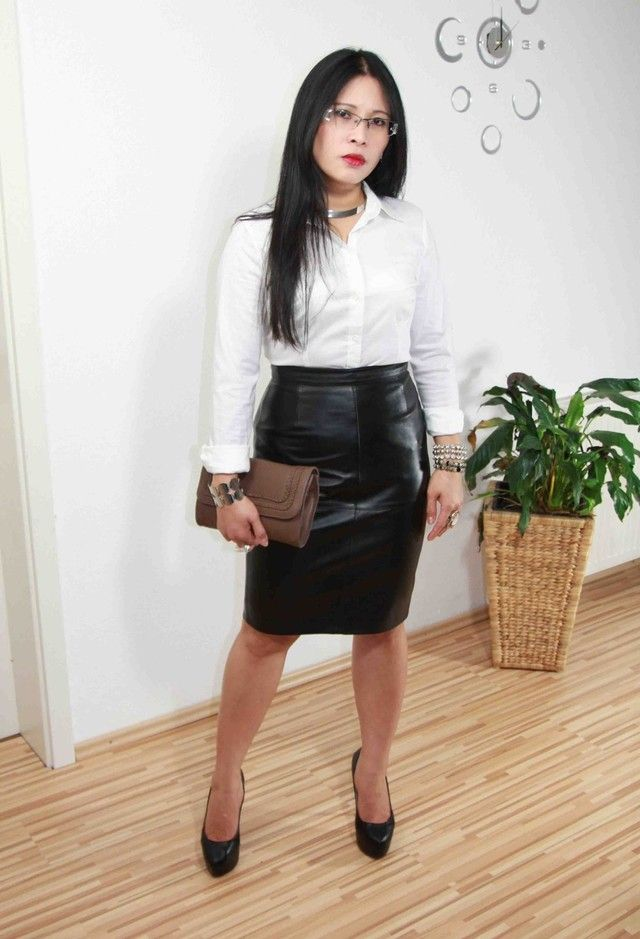 Pencil Skirt Outfits Tumblr : Black Leather Pencil Skirt | Satin ...