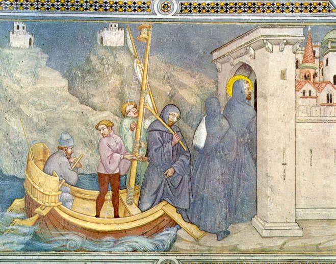 St. Augustinus van Hippo. 1420/30(?) Plafondschildering door Ottaviano Nelli. Italië, Gubbio, Sant 'Agostino Augustinus keert terug in Afrika.