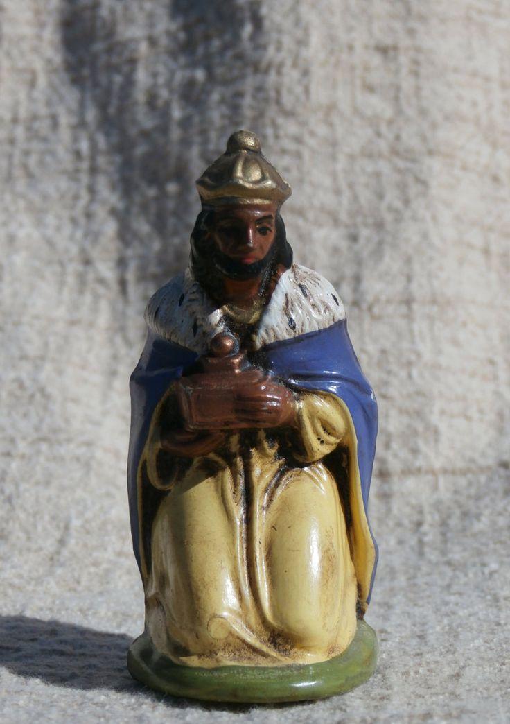 Nativity Figure, Vintage Balthasar Wise Man, Three Kings, Magi 3 inch Hard Plastic Balthazar