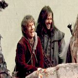 """(gif) - [Were you playing them (on-set pranks) or were they played on you?] Martin Freeman: """"Uh, I like to play... not even pranks. I just like to make Aidan Turner laugh. I see that as my job, to make Aidan and Dean crack up. And it's like taking candy from a baby. It's very, very easy."""" --- Oh my goodness!!! that makes me smile :)"""