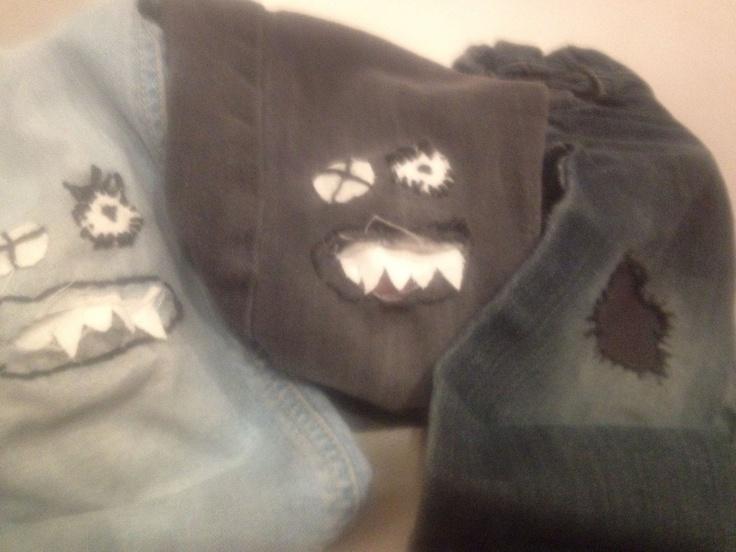 Juntitos...: Remendar agujeros en los pantalones con monstruos y parches¡¡
