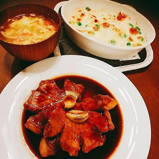 ガッツリすぎる。。 ●トンテキ ●枝豆と新玉ねぎの豆腐グラタン ●カニカマと長ネギの玉子スープ  #おうちごはん  #手作りご飯  #肉 #トンテキ #おなかいっぱい #グルテンフリー