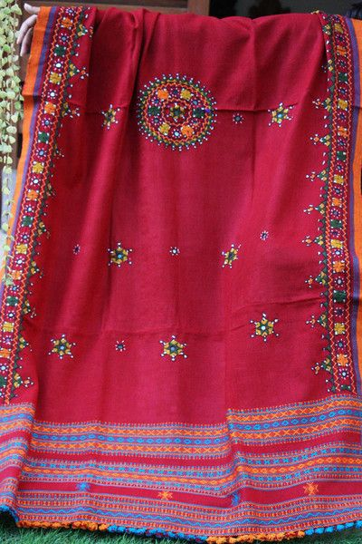 Pure Wool Shawl with Kutch Embroidery