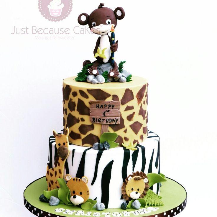 Jungle Life 1st Birthday Cake #monkeycaketopper #zebracake #junglecake #giraffecake #firstbirthdaycake #animalcake