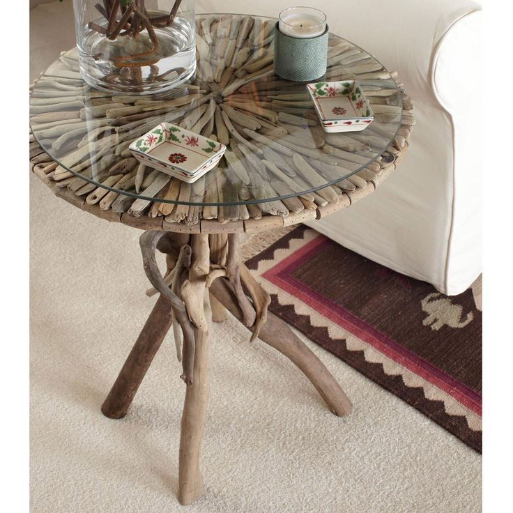 driftwood side table custom made in any size and color driftwood end table displayed near the ocean