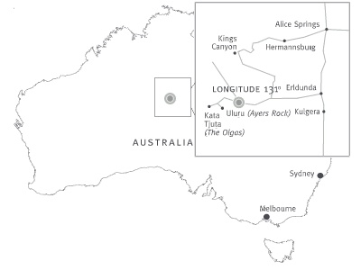 Australian map showing the location of Longitude 131°
