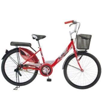 """ลดราคา  LA Bicycle จักรยานแม่บ้าน รุ่น City Steel Rim 24"""" สีแดง  ราคาเพียง  3,300 บาท  เท่านั้น คุณสมบัติ มีดังนี้ ฝาครอบเหล็กตกแต่งตัวถัง สิทธิบัตรเฉพาะจักรยานแอลเอ เบรคหน้าก้ามปู และเบรคหลังดรัมเบรค ตัวถังเหล็กและตะเกียบหน้าทรงโค้ง"""