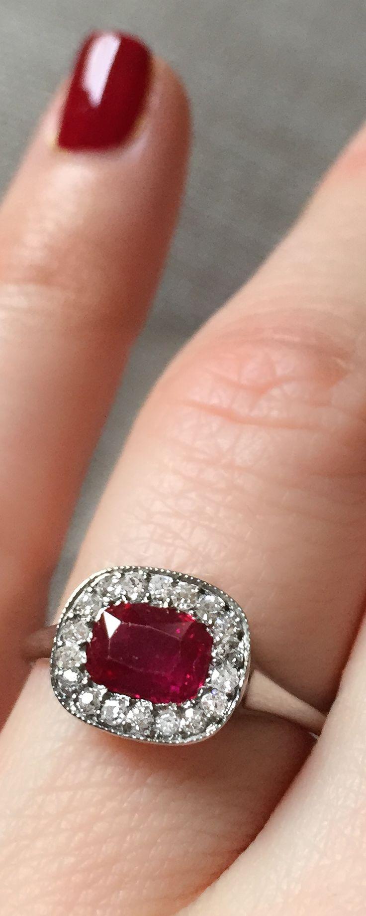 Vintage .75 Carat Edwardian Burma Ruby & Diamond Engagement Ring