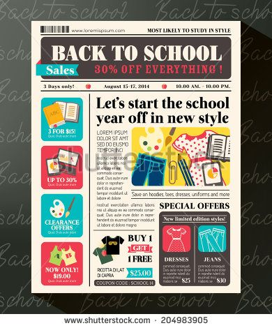 Back to School Sales Promotional Design Template in Newspaper Journal style