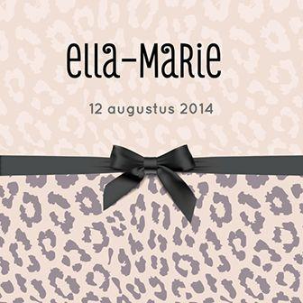 Geboortekaartje voor een meisje met een panterlook en zwart strikje.