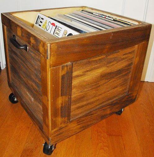 diy vinyl record lp storage box on wheels stained wood solid vinyl record storage ideas. Black Bedroom Furniture Sets. Home Design Ideas