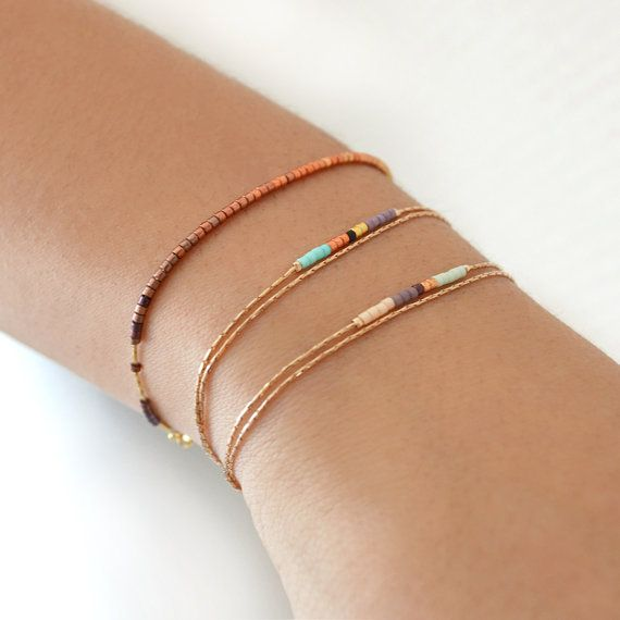 Minimalist Delicate Rose Gold Bracelet with Tiny Beads // Thin