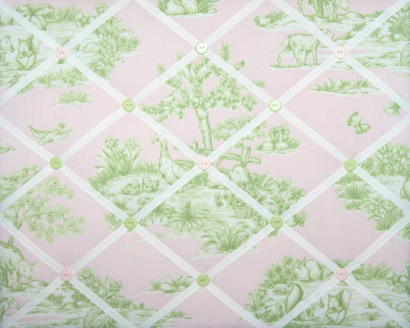 pink & green toile message board with ribbon: Messages Boards, Toile Messages, Ribbons, Green Canvas, Pink Green, Toile Memo, Toile De, Memo Boards, Fabrics Buttons