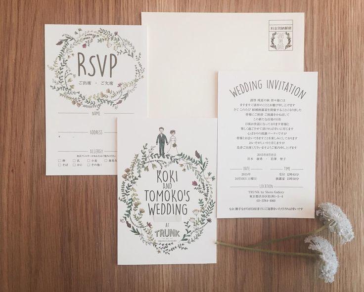 「2015.10.08  新婦さんがデッサンしたデザインを 取り入れてTRUNKで作成した招待状 彼女の優しくて、あたたかい人柄が にじみ出ていて大好きな一枚◎  封筒の別納も  お二人オリジナルデザインで... paper▷@yagihara.tsg  #wedding #instawedding…」