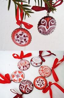 Glass christmas ornaments - hungarian folk art
