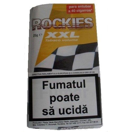 Tutun Rockies volume 25 gr  Acest tutun se poate injecta in tuburi de tigari sau se poate folosi pentru a rula tigarile folosind filtre si foite speciale pentru rulat Acest produs se adreseaza exclusiv persoanelor peste 18 ani ! Fumatul dauneaza grav sanatatii tale si a celor din jur. Directiva consiliului CE 2001/37/CEE