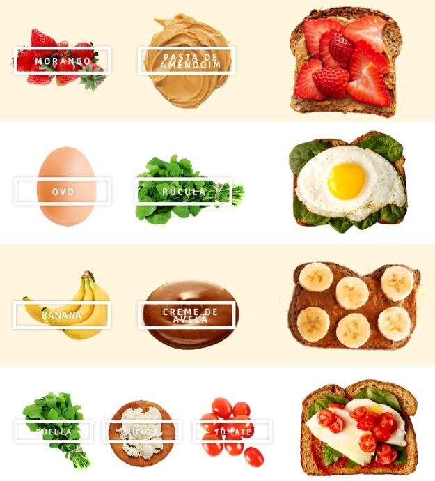Eis algumas ideias para animar sua torrada de pão integral:   Sete ideias de cafés da manhã mais saudáveis para esta semana