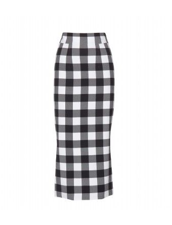 """Go for bold in designs like Dolce & Gabbana's oversized check-print skirt. Crafted from luxe silk, this contouring design is cut for a super-flattering longer length. Leg-lengthening heels are a must."""