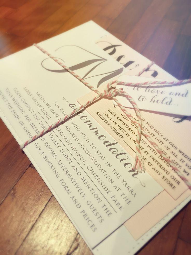 Cursive font wedding invitation set. Pastel pink, grey and white colour scheme. Go to www.lovemytype.com.au