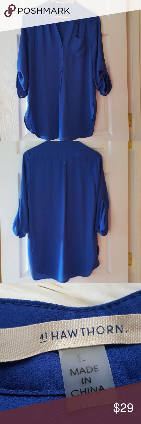 """⏱price drop! stitch fix 41 hawthorne tunic blouse Excellent condition. Perfect to wear over leggings! Measurements lying flat:  Bust: 21"""" Length:30"""" 100% polyester  -Smoke-free home  -Reasonable offers welcome, but prices are firm on items under $10.  -No trades, please.  -All measurements are approximate.  💕💕💕Thank you for shopping my closet, it means a lot to me!💕💕💕 Stitch Fix Tops Tunics"""
