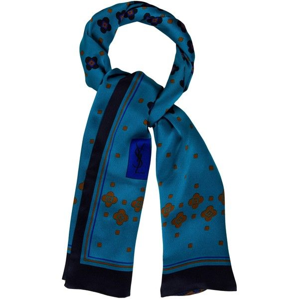 Pre-owned Yves Saint Laurent Silk Printed Scarf ($95) ❤ liked on Polyvore featuring accessories, scarves, blue, navy scarves, print scarves, colorful shawls, navy blue shawl and navy shawl