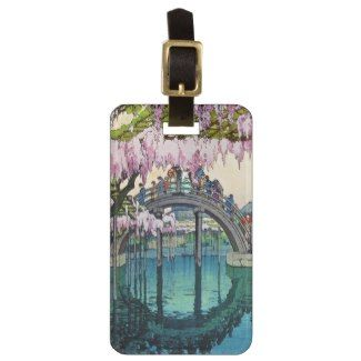 SOLD! - Classic oriental japanese Kameido Bridge Yoshida shin hanga japanese fine art customizable Travel Bag Tags #classic #japanese #japan #Oriental #vintage #bridge #Kameido #Yoshida #travel #accessories #bag #tag #luggage #customizable