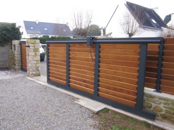 Les 25 meilleures id es de la cat gorie portail bois sur for Portail aluminium coulissant 3m50