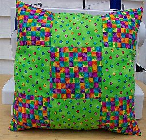 9 Patch Pillow,  Note to myself.. make one or two of these with same fabrics as the 9 patch quilts