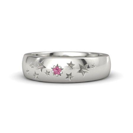14K White Gold Ring with Pink Tourmaline | Supernova Band | Gemvara