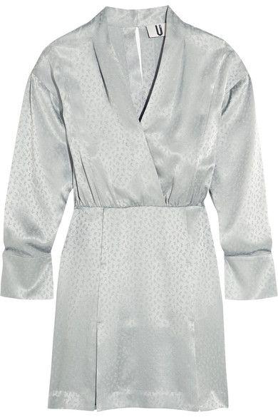 Topshop Unique - Vivien Wrap-effect Silk-jacquard Mini Dress - Gray green - UK10