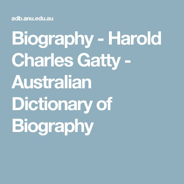 Biography - Harold Charles Gatty - Australian Dictionary of Biography