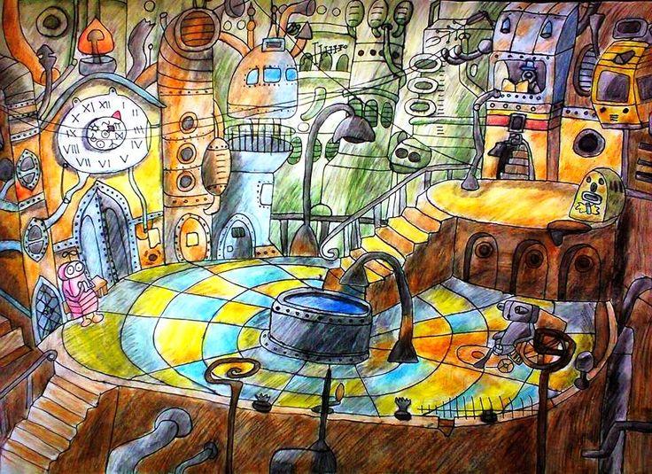 Main Square; Size: A3; Technic: aquarelle pencils; Game: Machinarium (Amanita Design, 2009)