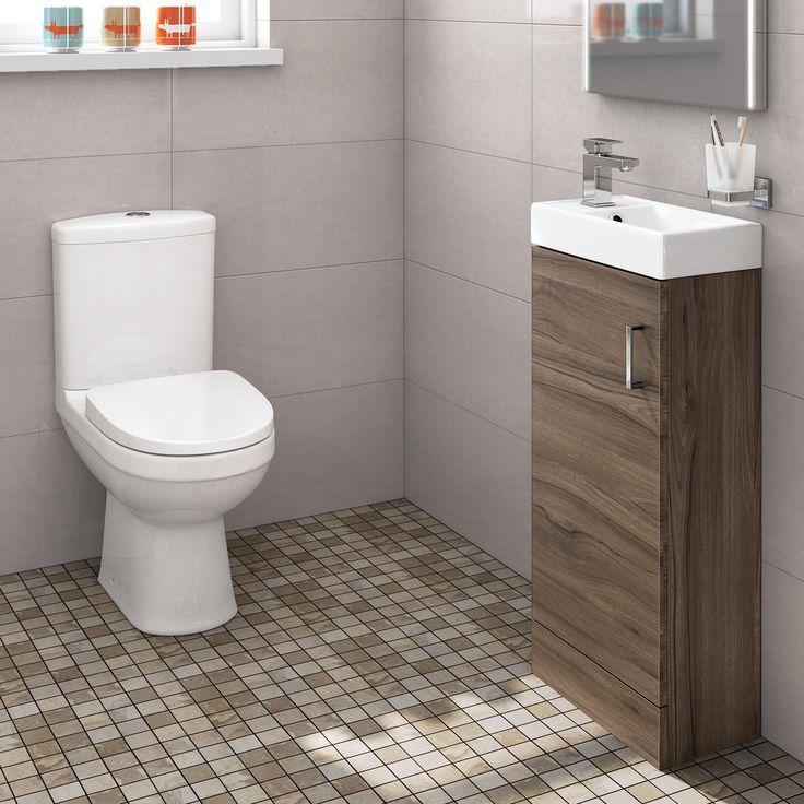 Sabrosa II Toilet & 400mm Slimline Basin Cabinet Cloakroom Set - Walnut Effect