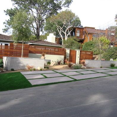 Patio use different sized rectangular cement slabs along for Modern front yard ideas
