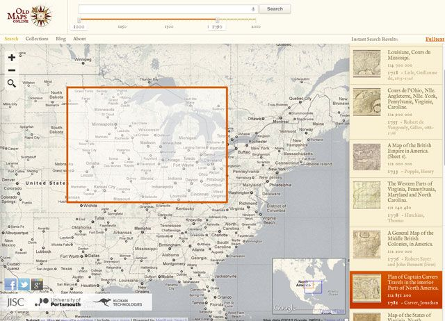 Old Maps Online is a site that allows users to easily find digitized historical maps from libraries and other archival sources.