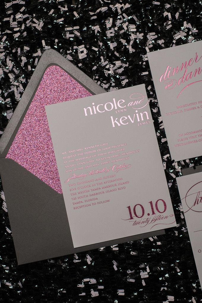 CYNTHIA Suite Glitter Package, hot pink foil, hot pink glitter, pink and grey wedding, foil stamped wedding invitations, glam invitations, glitter invitations