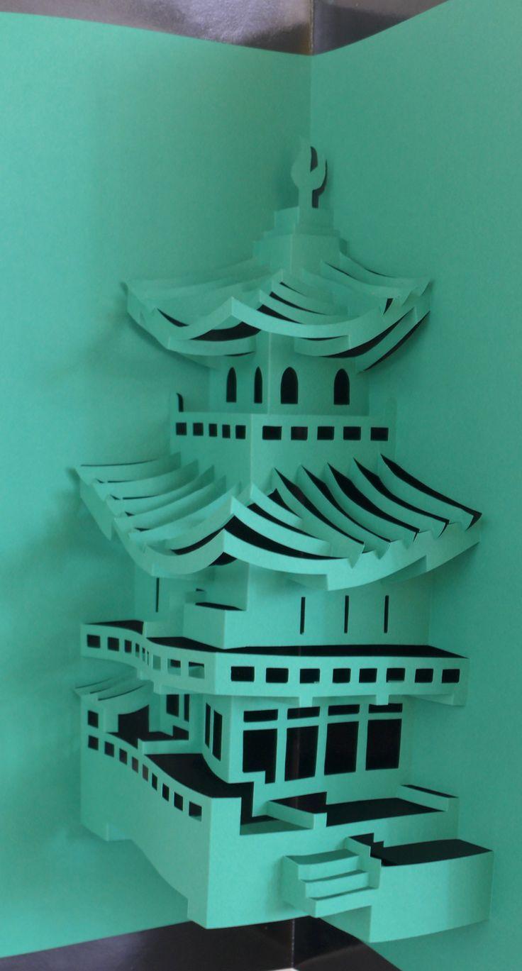 Green pagoda - cartoncino intagliato