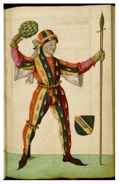 German carnival clothing, 1590. Those squiggly white blobs look, um, heraldic?