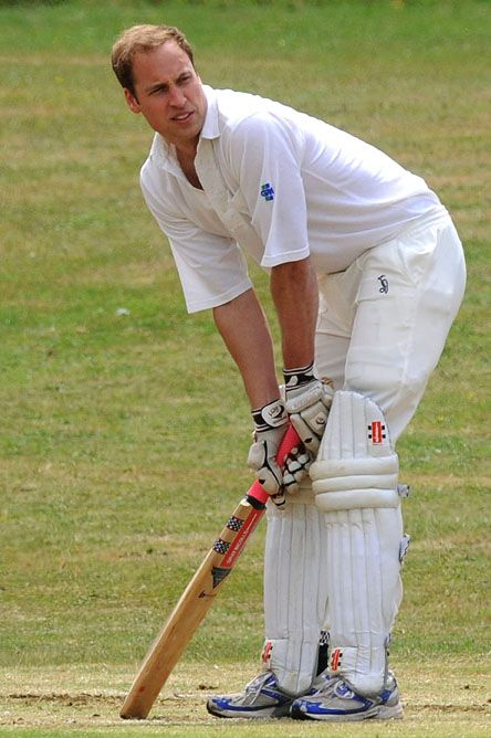Prince William Plays Cricket   Prince William looked splendid in his cricket whites as he batted in a pub cricket match for the Bledington King's Head Pub in Oxfordshire.