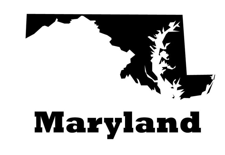 Maryland state vinyl wall decal map silhouette decoration with heart