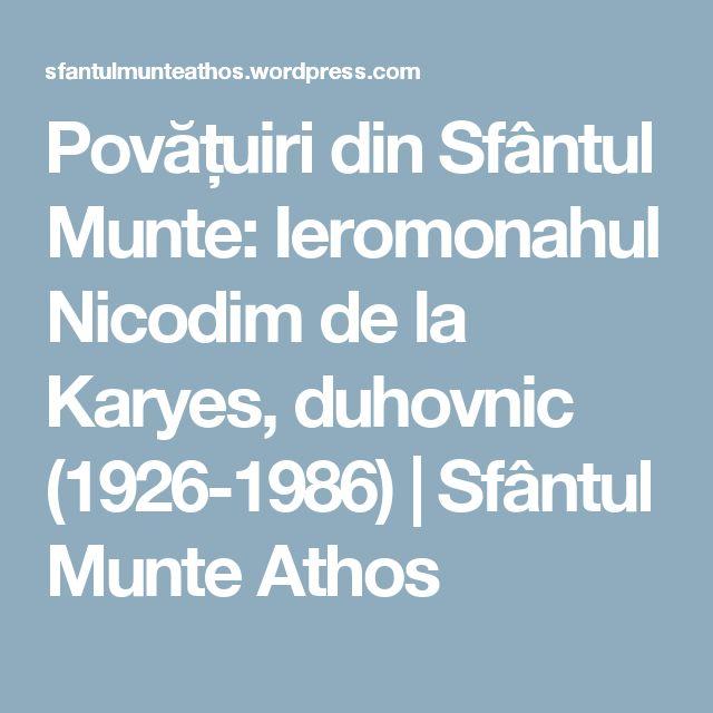 Povățuiri din Sfântul Munte: Ieromonahul Nicodim de la Karyes, duhovnic (1926-1986) | Sfântul Munte Athos
