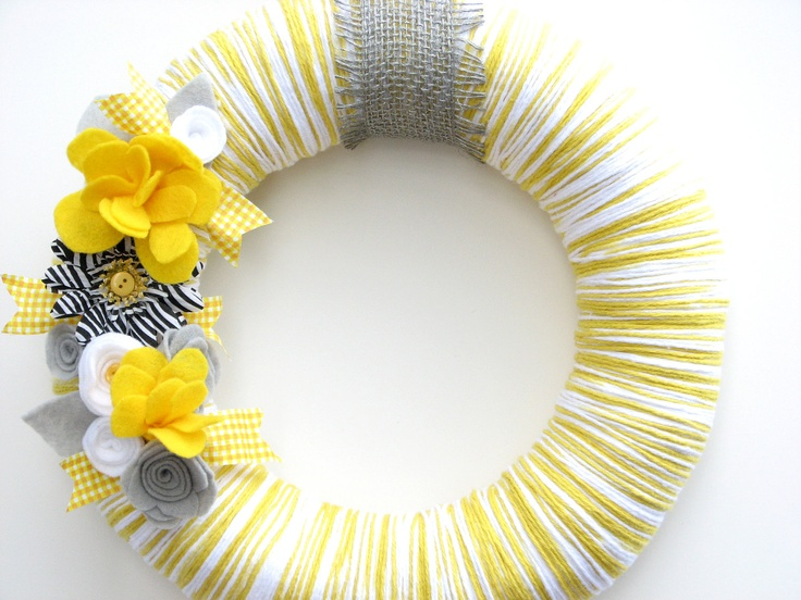 "15% OFF -- 12"" Yellow yarn wreath with gray, white and yellow felt flowers - The Mckenna. $32.00, via Etsy."