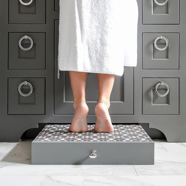 Built in step stool for bathroom sink