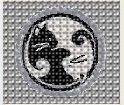 Cross Stitch Pattern Ying Yang Cat Black White PDF Download Balance Unity Feline. $5.00, via Etsy.