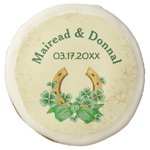 Shamrocks and Gold Irish Wedding Sugar Cookie. Customize text.