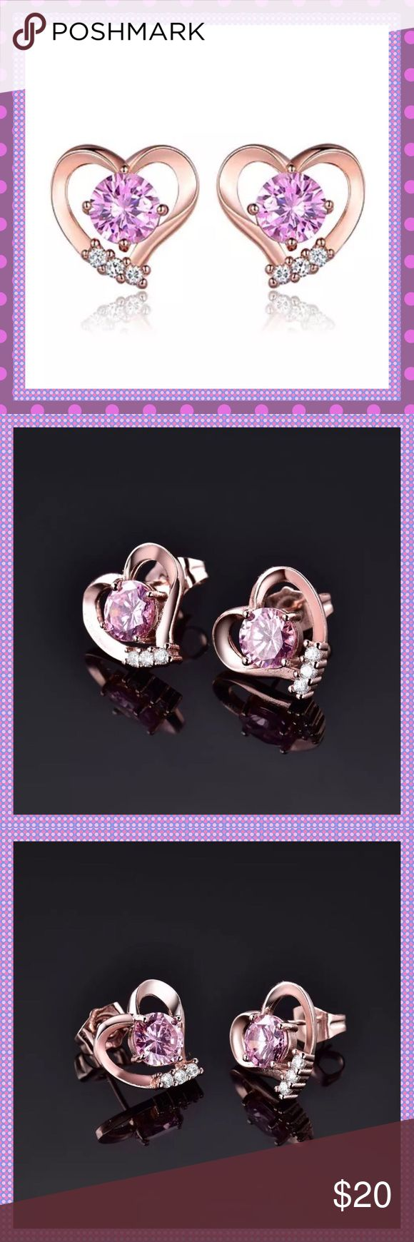 💓Rose Gold Hearts with Pink Topaz & CZ Earrings💓 💓WOW! 18K Rose Gold Filled Heart Shaped Pierced Stud Earrings with a 1.28 Carat Round Brilliant Cut Pink Topaz and Lab Created Diamonds, Gram Weight: 3.3 These are stunning, I had to keep one pair for my jewelry box!!💓COMES IN JEWELRY BOX💓PRICE IS FIRM💓 Boutique Jewelry Earrings