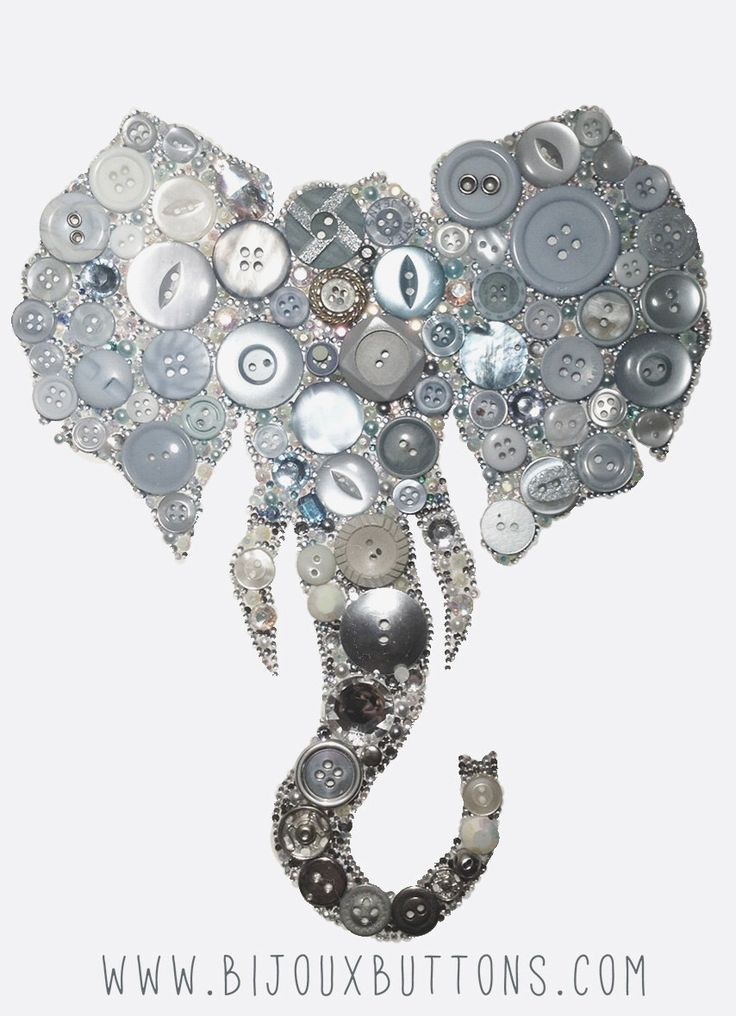 Bijoux Buttons Elephant, Button Art Swarovski Rhinestones, Unique Gifts by bijouxbuttonsltd on Etsy https://www.etsy.com/listing/224571325/bijoux-buttons-elephant-button-art