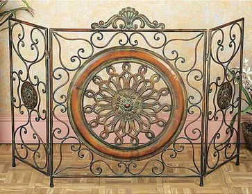 Mediterranean Antiqued Metal Fireplace Screen contemporary-screens-and-wall-dividers